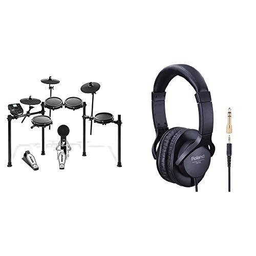 Alesis Nitro Mesh KitBatería Electrónica Musical de 8 Piezas con Cabezales de Malla, Rack Aluminio, 385 Sonidos + ROLAND RH-5Auriculares para DJ (tipo cerrado), color negro