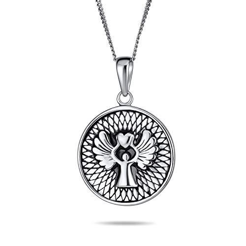 Runde Medaillon Scheibe religiöse Reversible zwei seitige Schutz graviert Gebet Schutz Schutz Engel Medaille Anhänger Halskette für Frauen 925 Sterling Silber