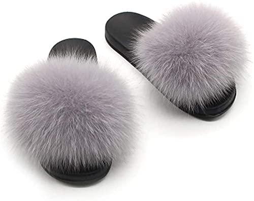 Faux Fourrure Flip Flop Sandales Plates Dames Intérieur Slip sur Les Sandales de Pantoufles Musga Fluffy Mus Sliders (Multicolore) BJY969 (Color : Light Gray, Size : 7 UK)