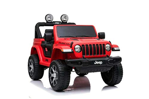 Babycar Jeep ® Wrangler Rubicon 2 Posti 12 Volt con Sedile in Pelle Macchina Elettrica Jeep per Bambini Porte apribili con Telecomando 2.4 GHz Soft Start Full Optional (Rosso)