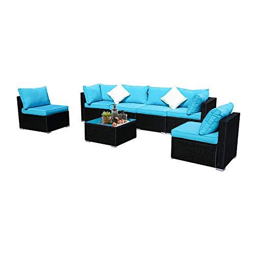 Wonlink 7pcs Patio Furniture Sets, Blue Wicker Outside Patio Furniture Sectional,Patio Sofa Rattan Garden Sectional, Furniture Set Garden Lawn Pool Backyard