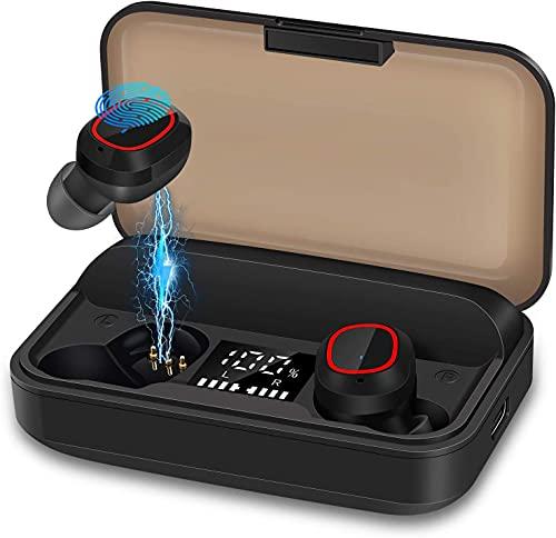 bakibo Auricolari Senza Fili Bluetooth 5.1, Accoppiamento Automatico Cuffie Wireless Microfono Auricolari Correre Sportivi con LCD Custodia Ricarica Da 3100 Mah, 120 Ore Di Riproduzione