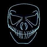Queta LED Máscaras de Halloween, con luz fría EL, Halloween Mascaras, Craneo Esqueleto Mascaras, para Navidad/Halloween/Cosplay/Grimace Festival/Fiesta Show/Mascarada (sin batería) (blanca)
