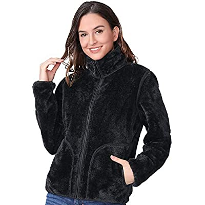 CAMELSPORTS Women Full Zip Fleece Jacket Reversible Soft Warm Polar Fleece Winter Jacket with Pockets Black L