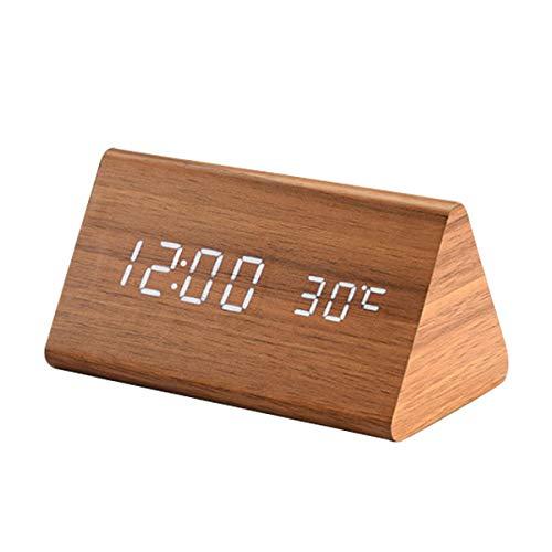 Sweetone LED Digital Alarma Despertador, Mostrar Tiempo, Temperatura y Humedad, USB y con Pilas-Brillo Ajustable y 3 configuraciones de Alarma Reloj Despertador de cabecera