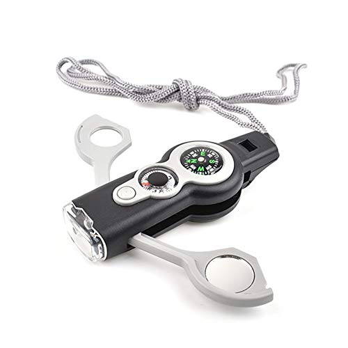 LKMY Mini-Mehrzweck-Notfall-Überlebens-Werkzeug, Outdoor-Sport-Produkte, Pfeife, Kompass, Thermometer, Karabiner, Uhr, Kilometerzähler, Entfernungsmesser, Lupe, Schlüsselanhänger