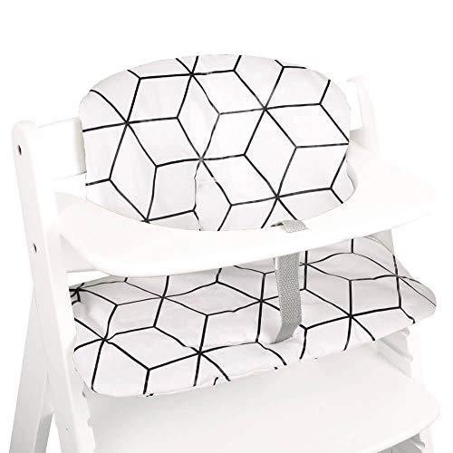 Cojín de asiento Hauck Alpha en Hauck Beta de 2 piezas de UKJE para trona con revestimiento grueso acolchado blanco geométrico lavable a máquina