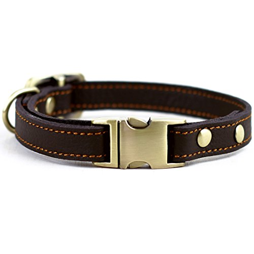 CHEDE Luxury Real Leather Dog Collar- Handmade for Small Dog Breeds with The Finest Genuine Leather Collar That is Stylish ,Soft Strong and Comfortable-Brown Dog Collar