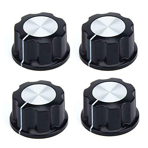 Top Drehknöpfe,4 Stk Round 27 mm Geriffelte Griffwelle Potentiometer Drehknoepfe für 6 mm Durchm Shaft Potentiometer