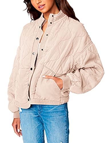 [BLANKNYC] Womens Luxury Clothing Tencel Drop Shoulder Quilted Jacket, Sand Drift, Medium