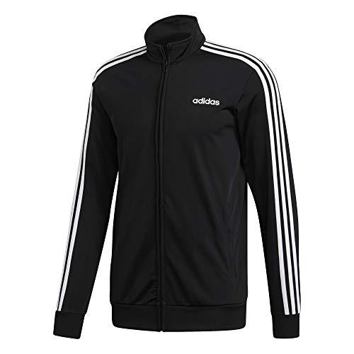 adidas Men's Essentials 3 Stripes Tricot Track Jacket, Black/White, XX-Large