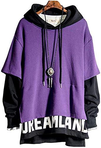 Men's Sweatshirt Hoodies Top Blouse Tracksuits Long Sleeve Autumn Winter,Violet + Noir-4XL