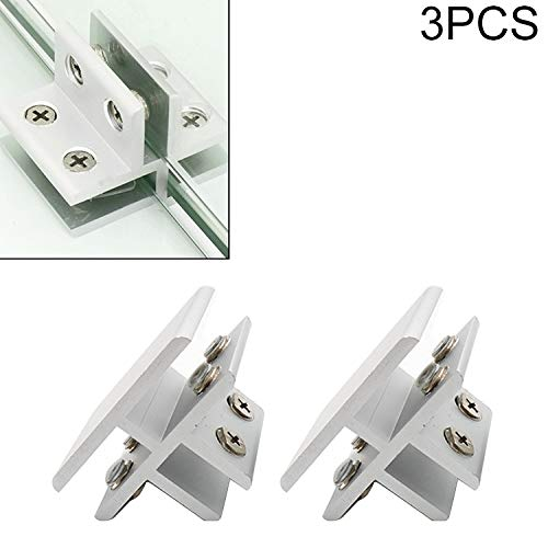 Cabinet Door Handle Aluminum Alloy Glass Combination Clamp Cabinet Partition Fixing Clip, (T-Type Cliped 10-12mm/3 PCS)