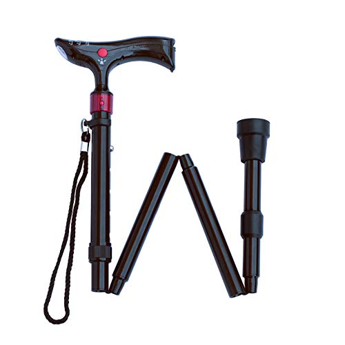 Image of Adjustable Folding Walking Cane w/Panic Alarm & LED Flashlight: Lightweight, Durable Aluminum Alloy in Black; Bonus Quad Cane Tip & Wrist Strap; Loud Siren & Red Strobe Light; Ergonomic Grip Handle.
