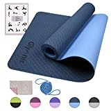 Glymnis Esterilla Yoga Antideslizante Colchoneta Yoga Esterilla Deporte Esterilla Pilates con Correa 183mm x 61mm x 6mm Azul