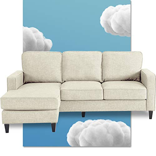 Serta Harmon Reversible Sectional Sofa Living Room, Modern L-Shaped 3 Seat Fabric Couch, Square Arm, Cream