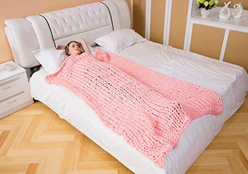 YUANCJ Decke Flauschige Kuscheldecke/,Fotografie Requisiten Nordic Dicke Decke handgewebte Decke Decke Wolldecke Sofa Island Wolldecke Sofa Decke rosa, 100X10