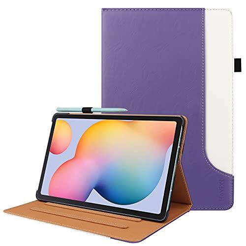 HoYiXi Custodia Compatibile con Samsung Galaxy Tab S6 Lite 10.4 2020 Tablet Custodia in pelle PU con Pen Holder Custodia per Samsung Galaxy Tab S6 Lite 10.4 SM-P610/P615 2020, viola & bianca