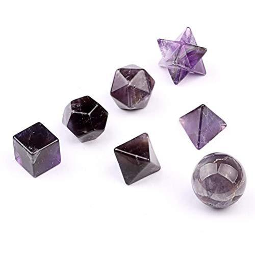 Carved 7pcs Amatista platónica sólidos Sagrado Geometría Símbolos con Merkaba Star Crystal curación Equilibrio SetW3486