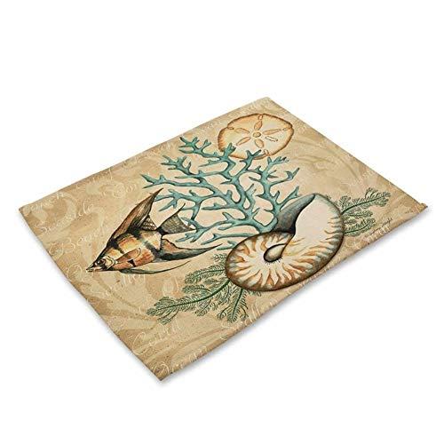 2 Stücke 4 Stücke 6 Teile/Los Marine Tier Meeresschildkröte Pferd Fisch Gedruckt Leinen Tischset Dinner Coaster Heimtextilien Tischdekoration (Color : 1, Size : 2Pieces)