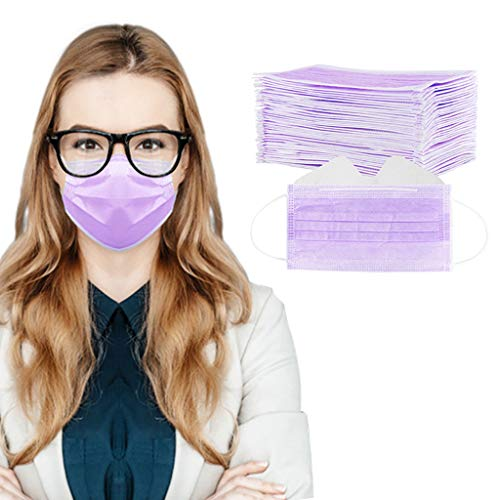 50/100 Pcs 3-Ply Disposable Face Macks, Anti-Fog Face Shield for People Who Wear Glasses, Latest Technology (50, Purple)
