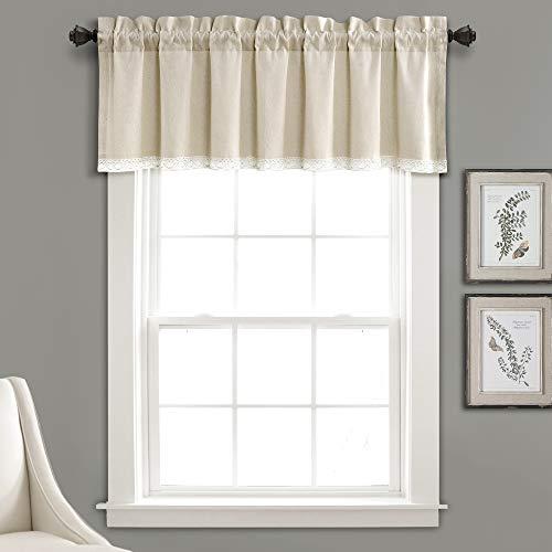 "Lush Decor Linen Lace Window Curtain Valance Dark, 18"" x 52"" + 2"" Header"