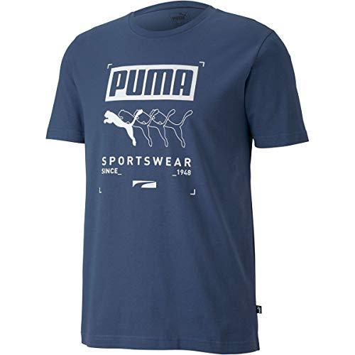 PUMA Maglietta Modello Box Tee Marca, Blu, L (581908-43)
