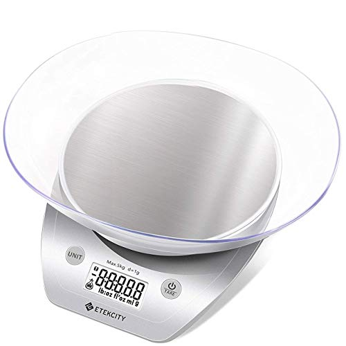 Etekcity Food Scale with Bowl, Digital Kitchen Weight Grams and Ounces for Cooking and Baking, 0.1g Increment, Large Backlit Display, Silver/Stainless Steel
