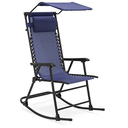 Best Choice Products Foldable Zero Gravity Rocking Patio Chair with Sunshade Canopy - Navy Blue