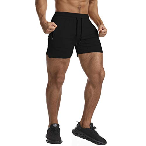 EVERWORTH Men's Solid Gym Workout Shorts Bodybuilding Running Fitted Training Jogging Short Pants with Zipper Pocket Black L