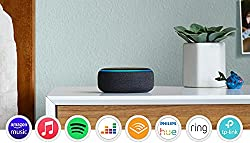 Our most popular smart speaker: now with a fabric design and improved speaker for richer and louder sound. Voice control your music: stream songs from Amazon Music, Apple Music, Spotify, TuneIn and others. You can also listen to audiobooks from Audib...