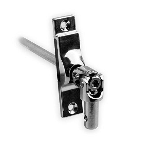 DIWARO.® | Rolladen Gelenklager G039, 45 Grad Umlenkung, Grundplatte 17 x 73 mm mit 2 Befestigungslöcher, Kurbelzapfen Anschluss 9,9 mm, Antrieb zum Rolladengetriebe 6 mm Sechskant.