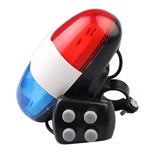 Bocina electrónica para bicicleta, luz de la cola de la bicicleta con 4 tonos, sirena de policía fuerte, trompeta de ciclismo, bocina de bicicleta, luz de campana, 1 pieza regalo de día festivo