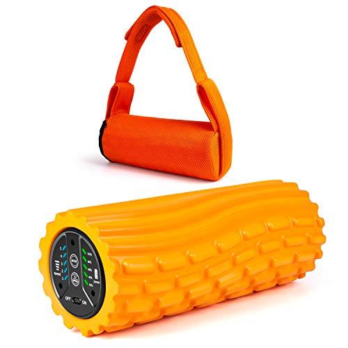 ELEOPTION フォームローラー 電動 筋膜リリース 3Dマッサージロール 振動ヨガローラー 強力 5段階可調整 フィットネス トレーニング スポーツ ダイエット 健康器具 (オレンジ)