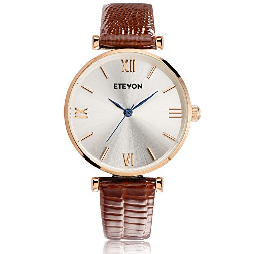 ETEVON Women's Quartz Retro Leather Watch Waterproof with Rose Gold Dial and Brown Strap, Fashion Luxury Casual Dress Wrist Watches for Women Ladies