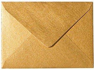 25 Briefumschläge Mini Gold 5,1 x 7,0 cm Verschluss-Technik:, Grammatur 90 g/m²