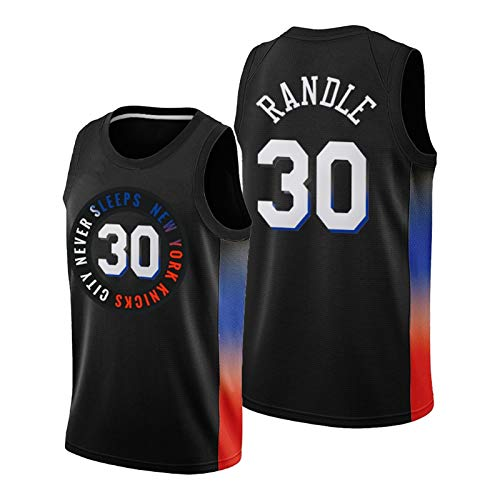 QPY Randle Basketball Jerseys para Hombres, 2020-21 Knicks Randle Black City Edition Jersey Swingman City Edition Men's Jersey (S-XXL) M