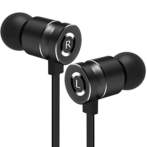 Gritin Auriculares Auriculares con Cable y Micrófono In Ear de Alta Sensibilidad Carcasa de Aluminio- Aislamiento de Ruido, Alta Definición para iPhone, Android con Toma de Auriculares de 3,5 mm