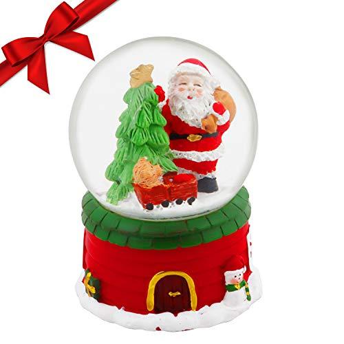 BELLE VOUS Weihnachtliche Schneekugel - (9 x 6,5 cm) Kleine, Glitzer Wirbelnde Weihnachtliche Schneekugel mit Weihnachtsmann Figur - Mini Schneekugel Weihnachten als Geschenk, Weihnachten Dekoration