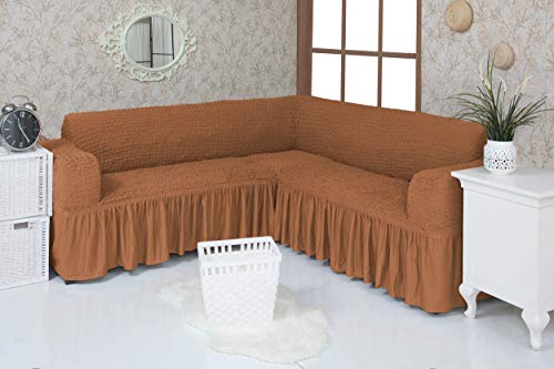 Mixibaby Eck Sofabezug Sofahusse Sesselbezug Sitzbezug Sesselüberwurf Stretchhusse Sofahusse, Farbe:karamell