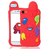 Jowhep Case for iPhone 7/8/6S/6/SE 2020 Cartoon Cute 3D Kawaii Fun Red Amongs Kids Design Silicone Cover, Cool Funny Fashion Character Cases for iPhone 7/8/6S/6/SE 2020 4.7' Shell for Girls Boys Women