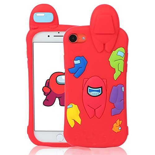 """Jowhep Case for iPhone 7/8/6S/6/SE 2020 Cartoon Cute 3D Kawaii Fun Red Amongs Kids Design Silicone Cover, Cool Funny Fashion Character Cases for iPhone 7/8/6S/6/SE 2020 4.7"""" Shell for Girls Boys Women"""
