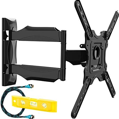 Invision Soporte de Pared para TV 24-55 Pulgadas - Inclinación y Giratoria – MAX VESA 400x400mm - Ultra Delgado para Pantallas LED, LCD, Plasma y Curvadas - Capacidad de Carga Máx 36,2 kg (HDTV-E)