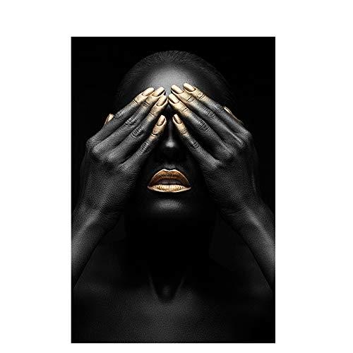 YIYEBAOFU DIY Pintar por números Cuadro Negro y Dorado de Mujer Africana Desnuda, Lienzo Indio y Mural nórdico de Sala de estar40x50cm(Sin Marco)