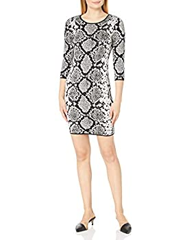 Vince Camuto Women s 3/4 Sleeve Snakeskin Mock Neck Sweater Dress Rich Black Large