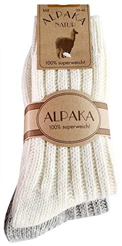 dunaro 2 Paar Alpaka Socken Wollsocken besonders kuschelig warm für Damen Herren (2 Paar / 35-38 Weiß-Grau)