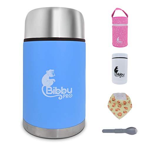 Bibbu PRO Thermos per Alimenti 1Lt | Contenitore Termico di Acciaio Inossidabile per Cibo Caldo, Bavaglino e Cucchiaio Inclusi - Mini Thermos 250ml (Azzurro)