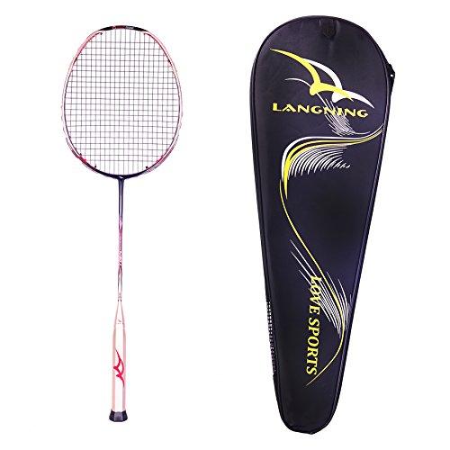 LANGNING Badminton Racquet Light Racket Set Carbon Fiber 7u Best Tournament Single Shuttle Bat Carrying Bag - 68g (Gold)