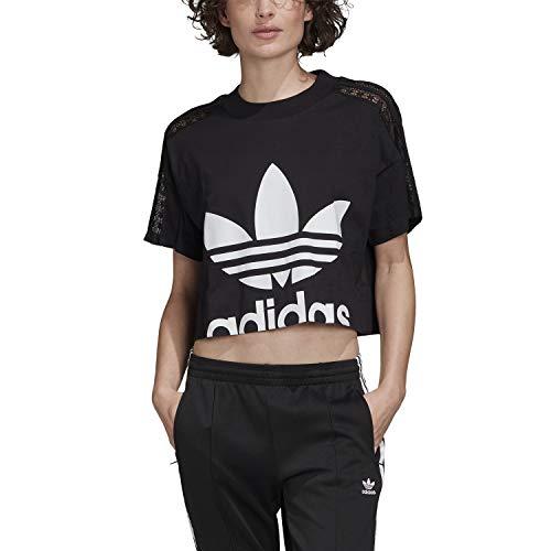 adidas Cropped tee Camiseta de Manga Corta, Mujer, Black, 46