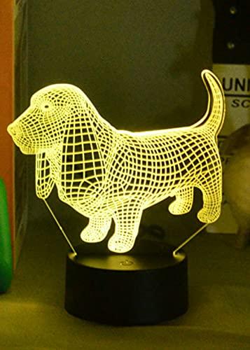 3D perro noche luz USB interruptor táctil decoración mesa escritorio ilusión óptica lámparas 7 colores cambiantes lámpara de mesa LED Navidad hogar amor cumpleaños niños decoración regalo juguete